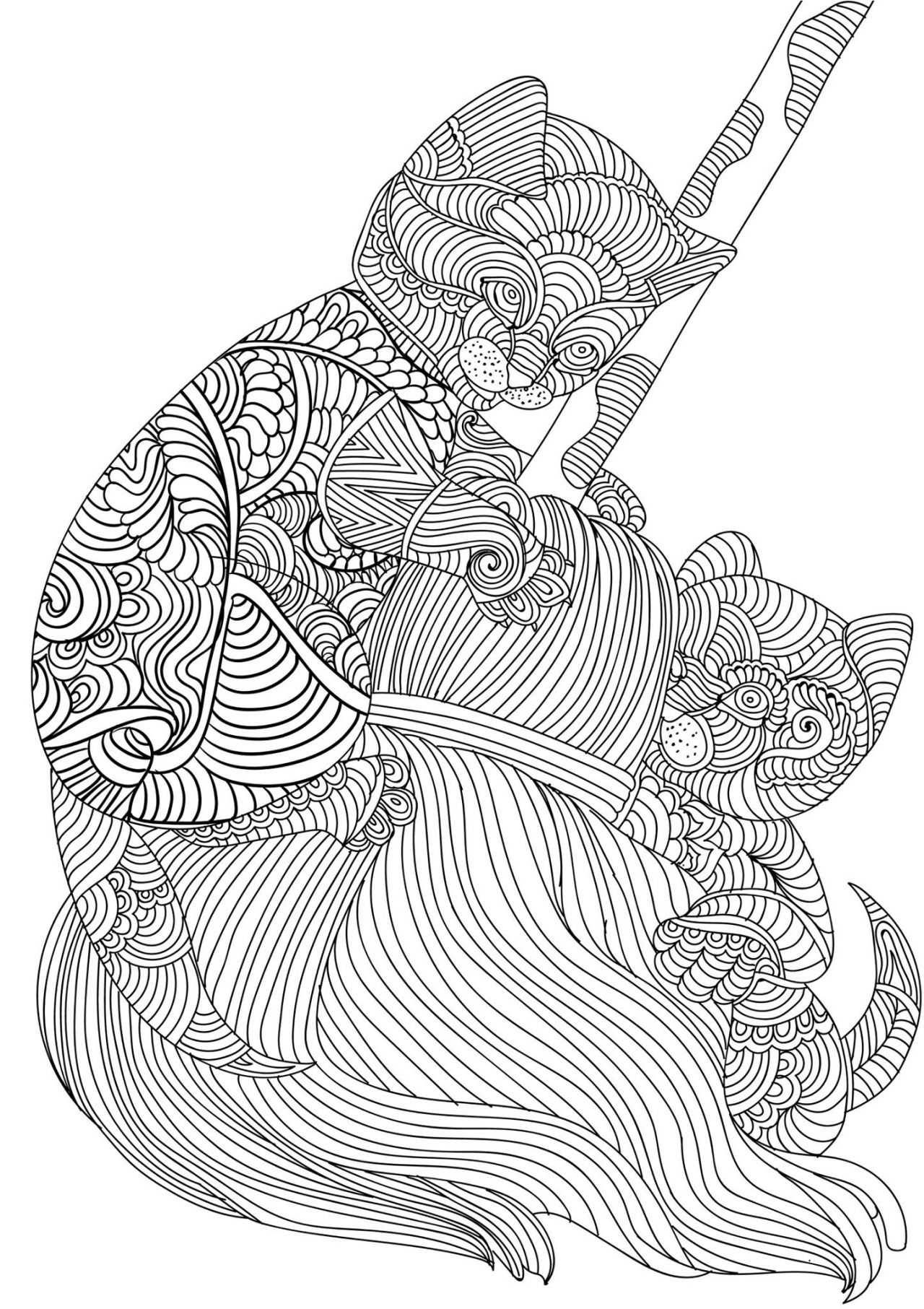 Detailed Kittens Playing Adult Coloring Pages