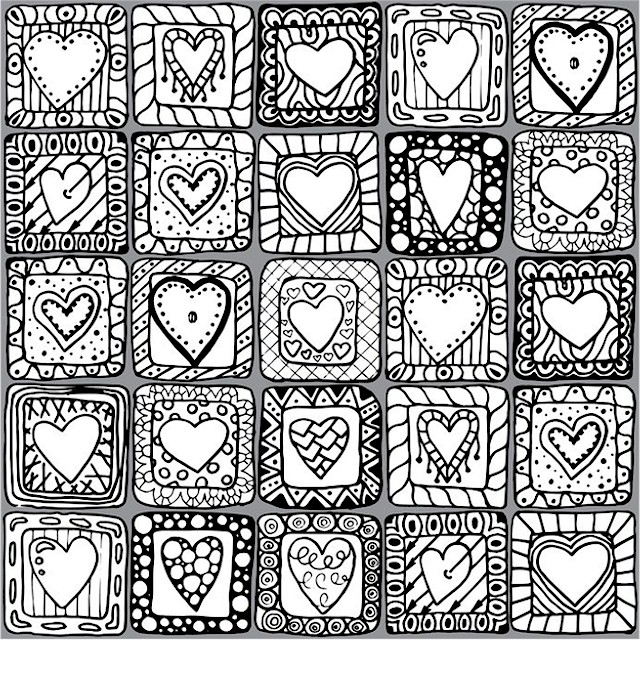 Detailed Valentines Day Coloring Page for Adults