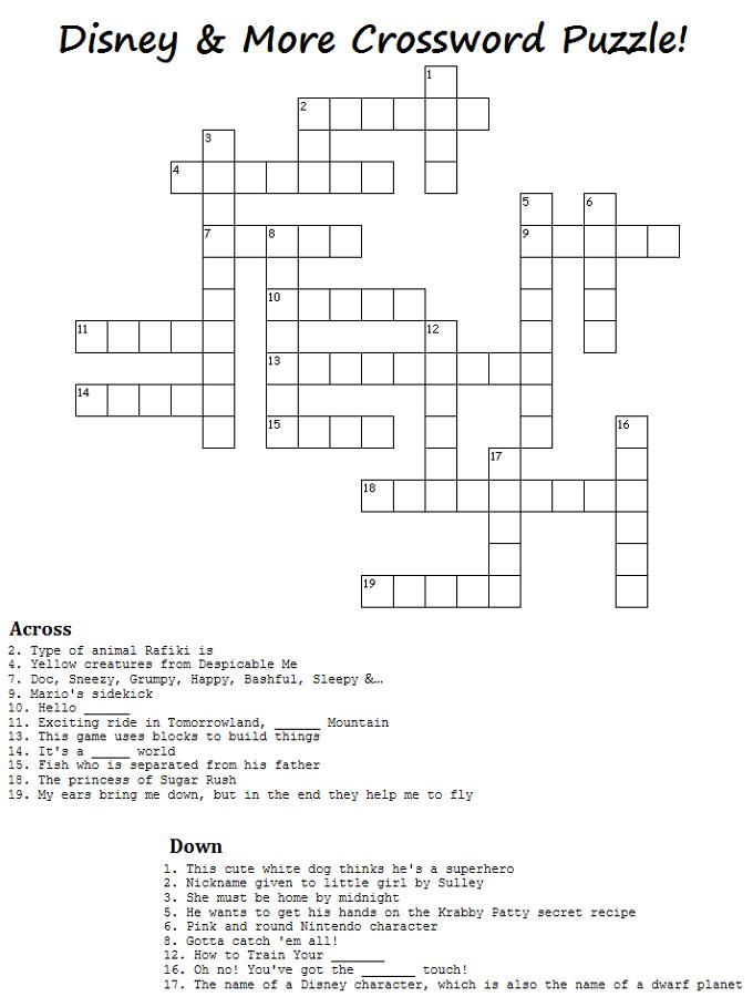Disney Crossword Puzzles for Kids