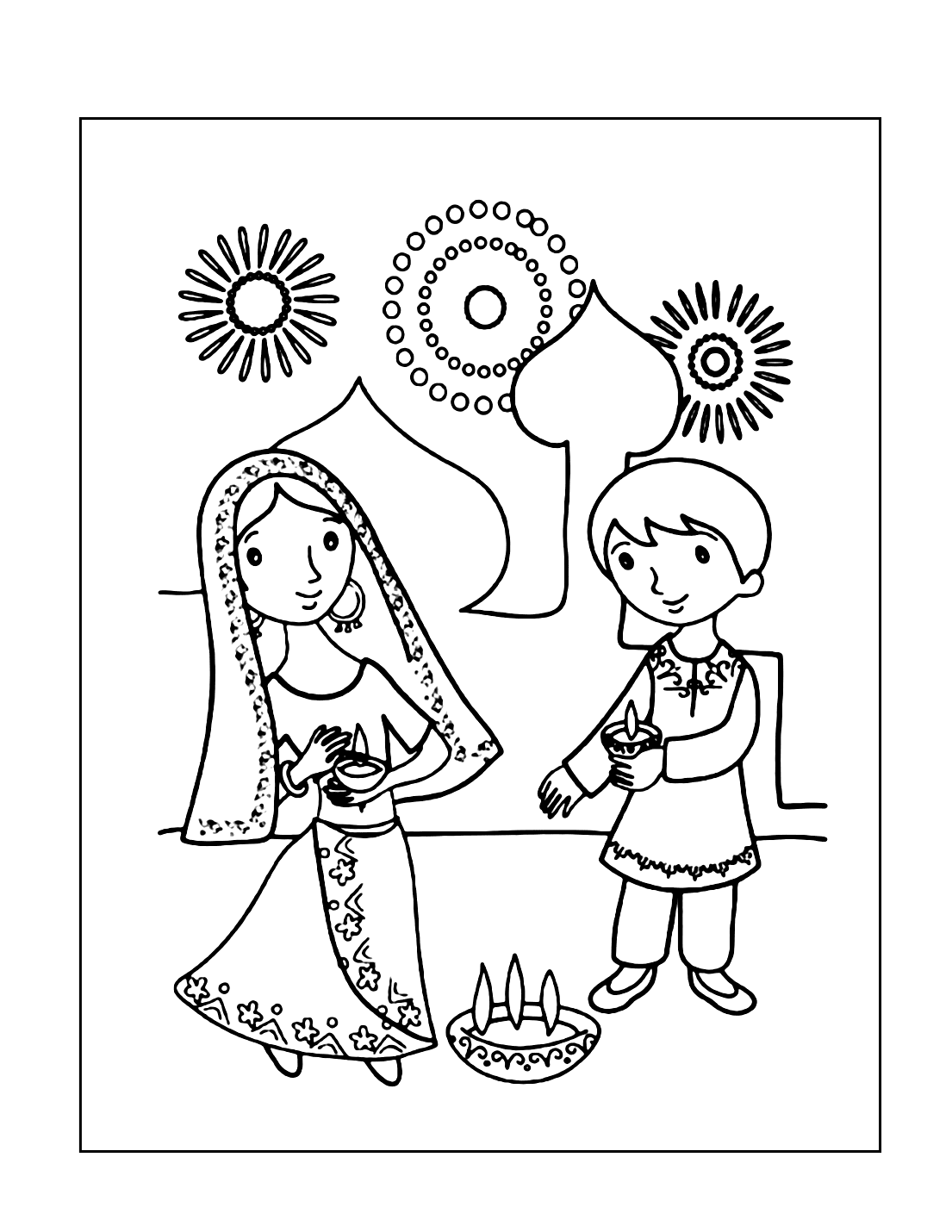 Diwali Celebration Coloring Page