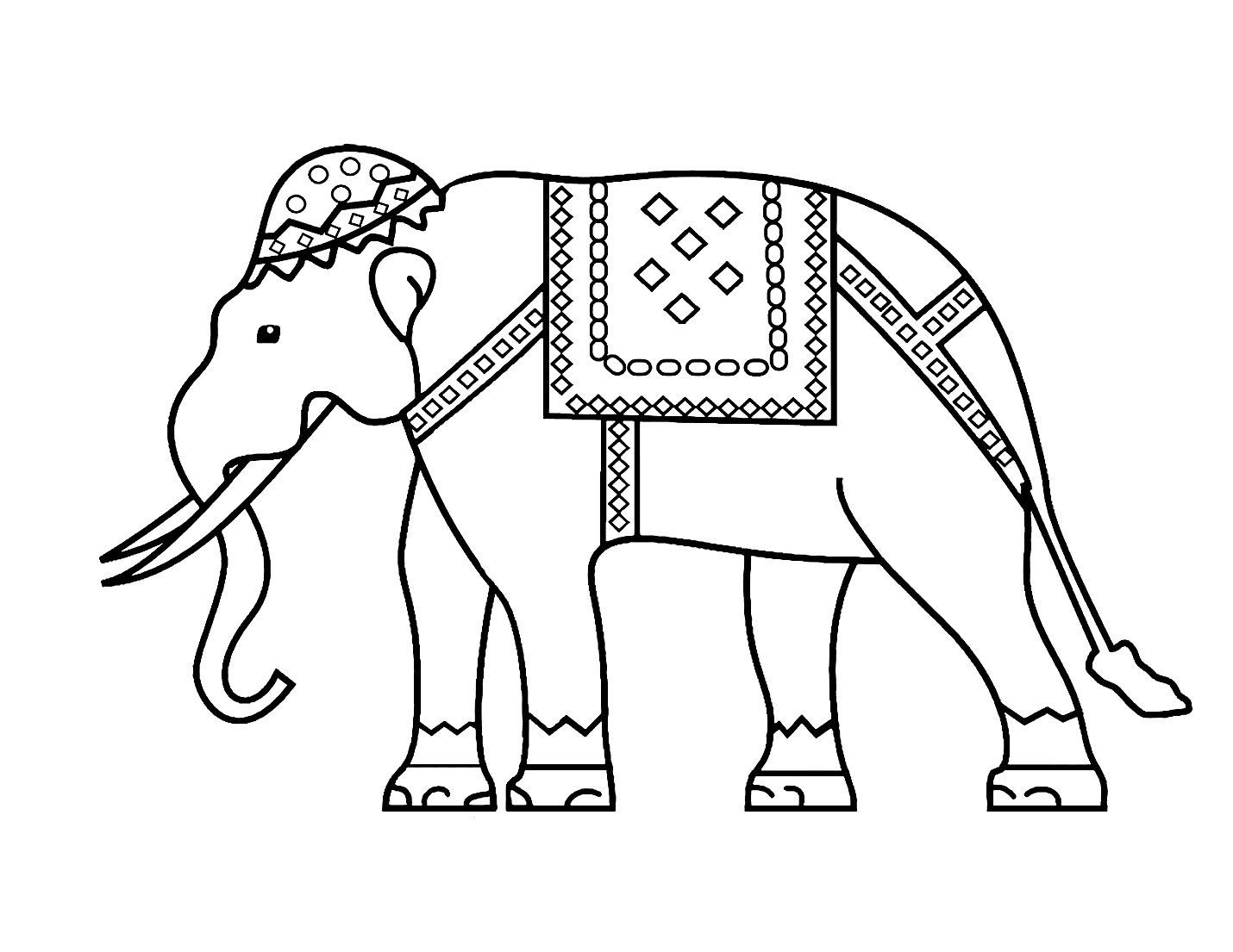 Diwali Elephant Coloring Page