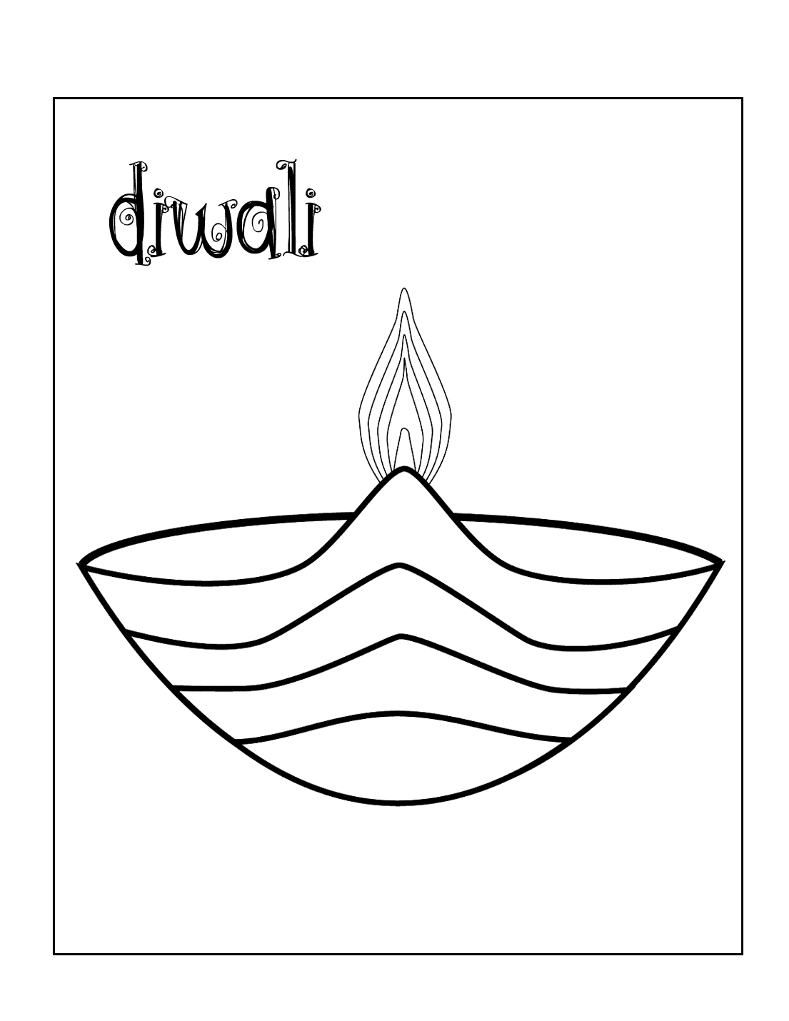 Diwali Lamp Coloring Page