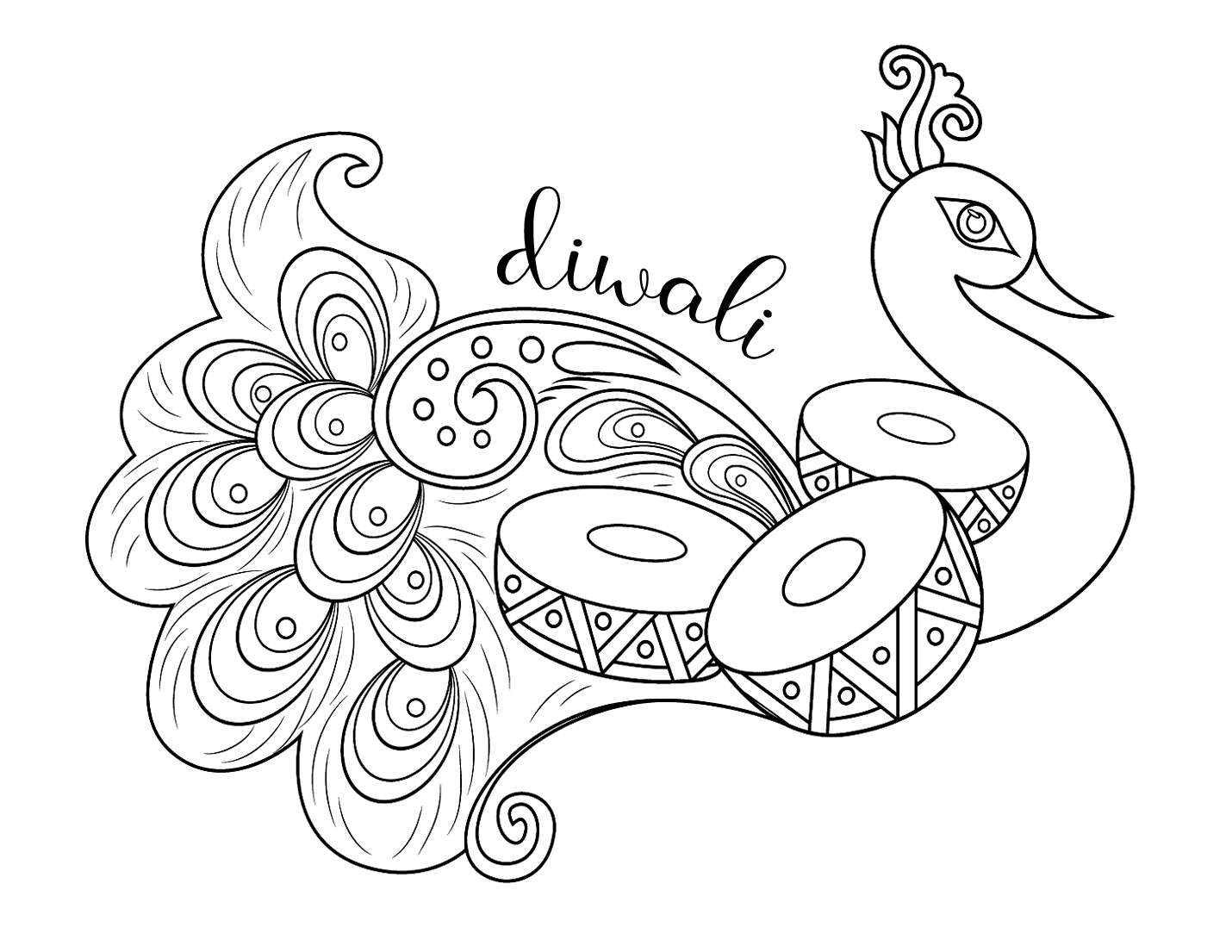 Diwali Peacock Coloring Page