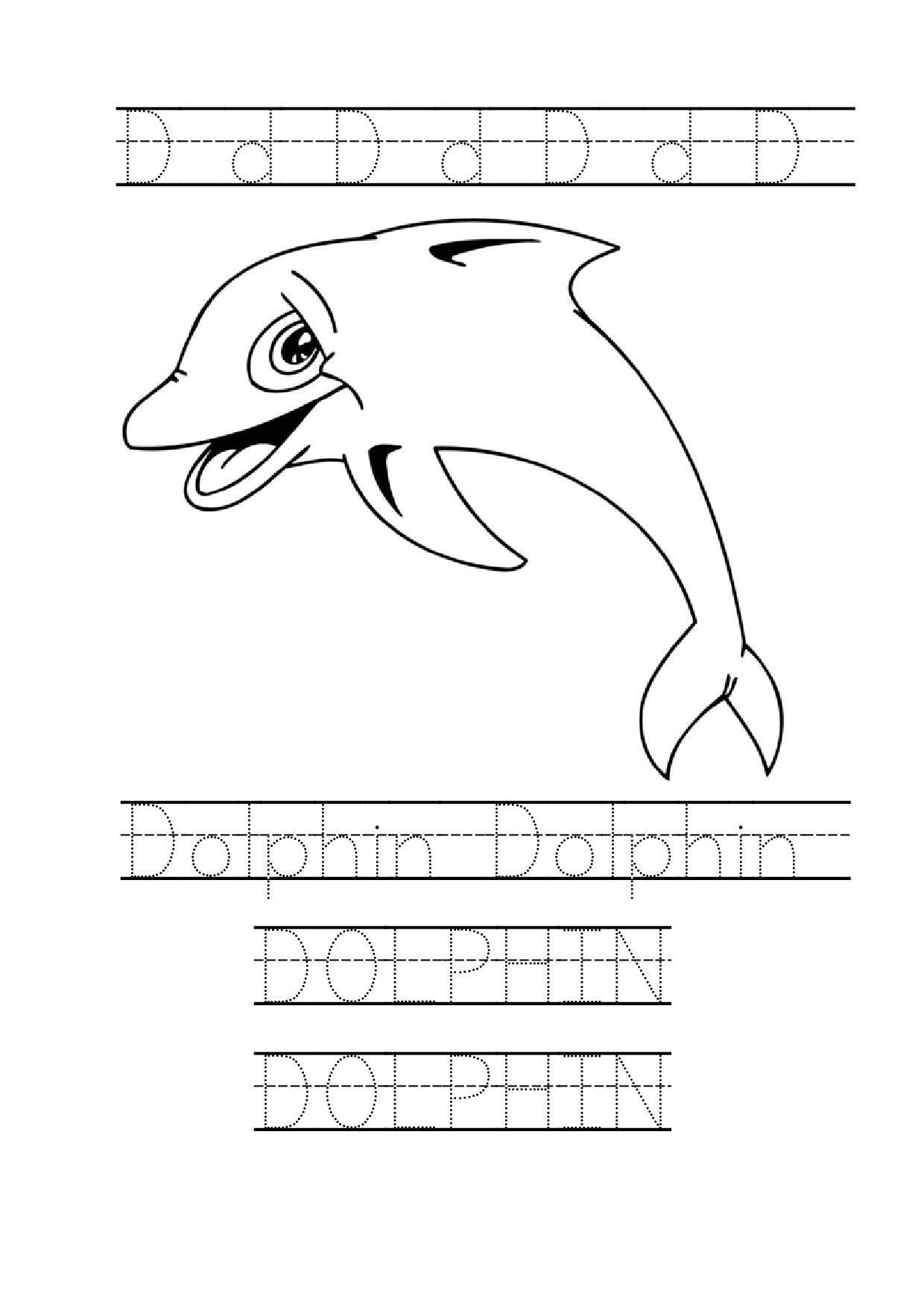 Dolphin Word Trace Kindergarten Worksheet