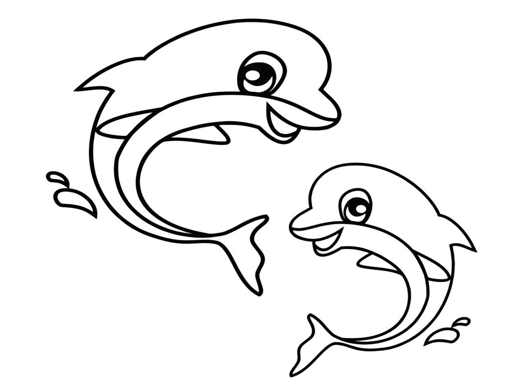Dolphins Preschool Coloring Page - coloring.rocks!