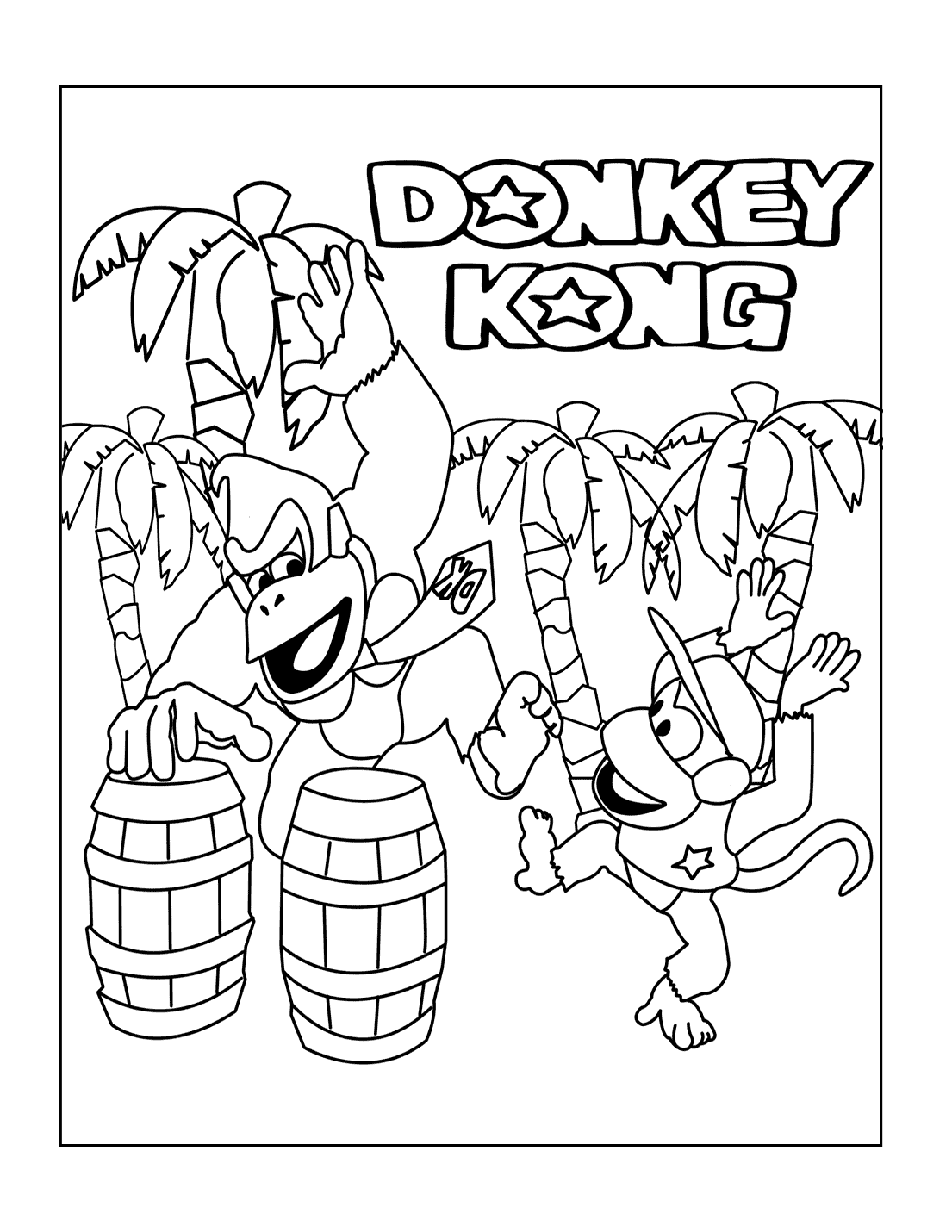 Donkey Kong And Diddy Dancing Coloring Page