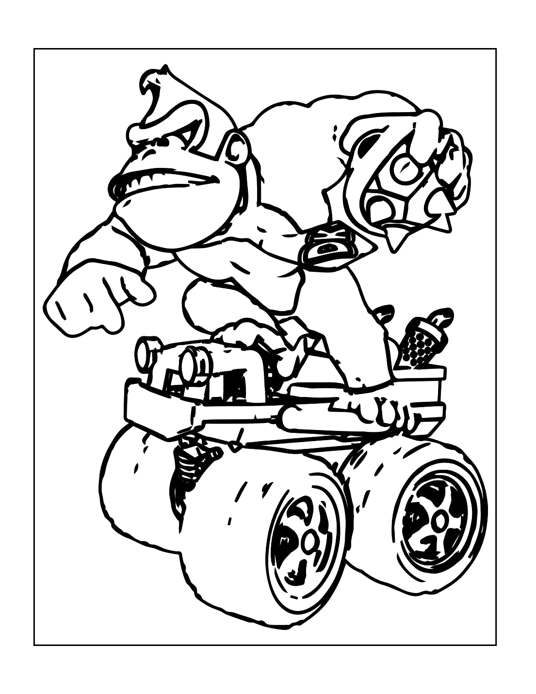 Donkey Kong On 4 Wheeler Coloring Page
