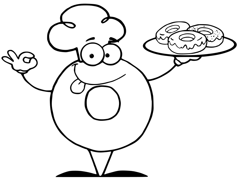 Donut Chef Coloring Page