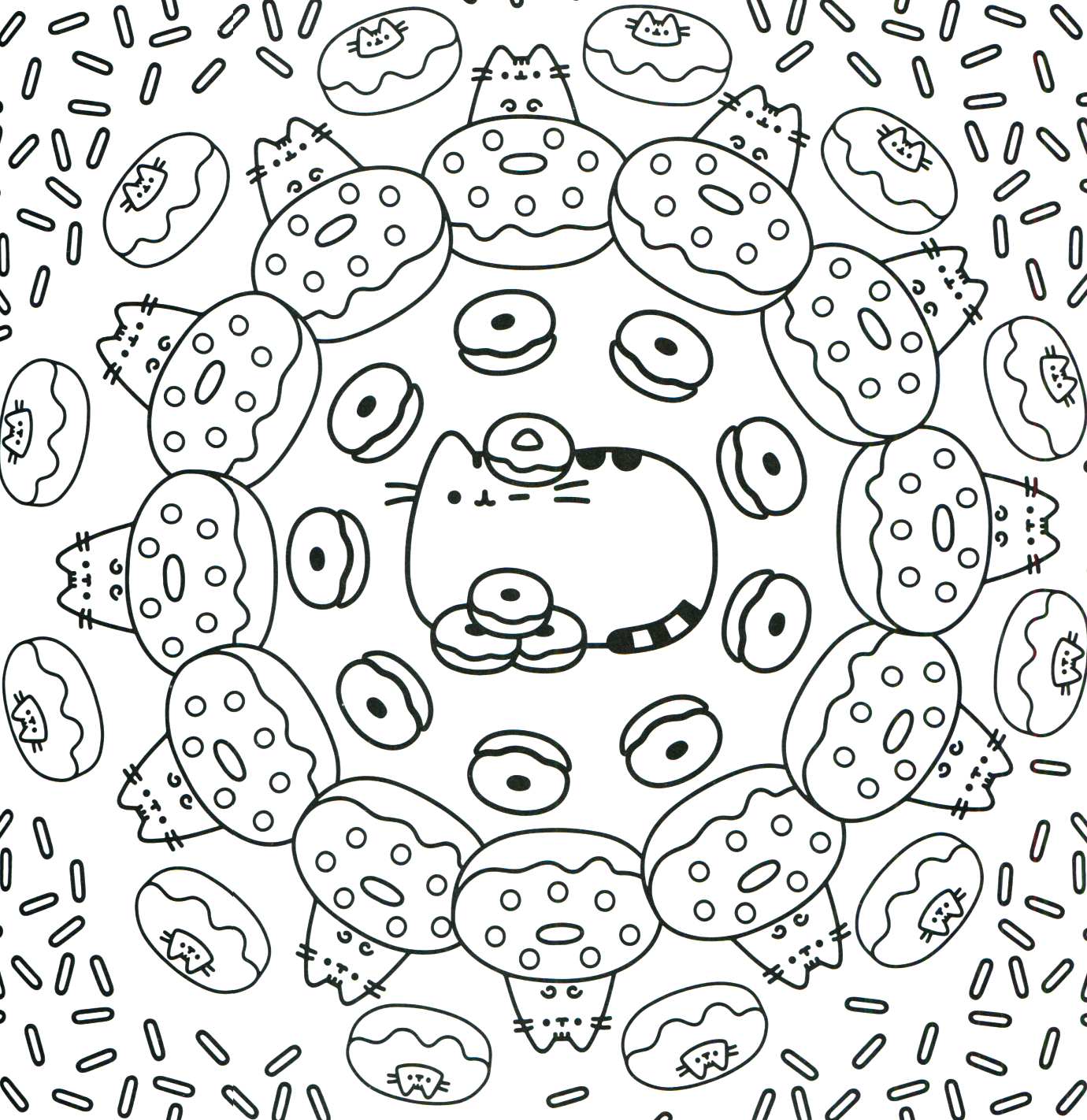 Donut Kawaii Coloring Pages