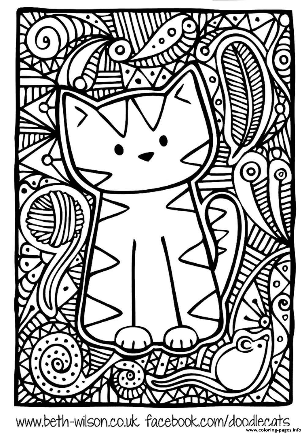 Doodle Cat Coloring Pages