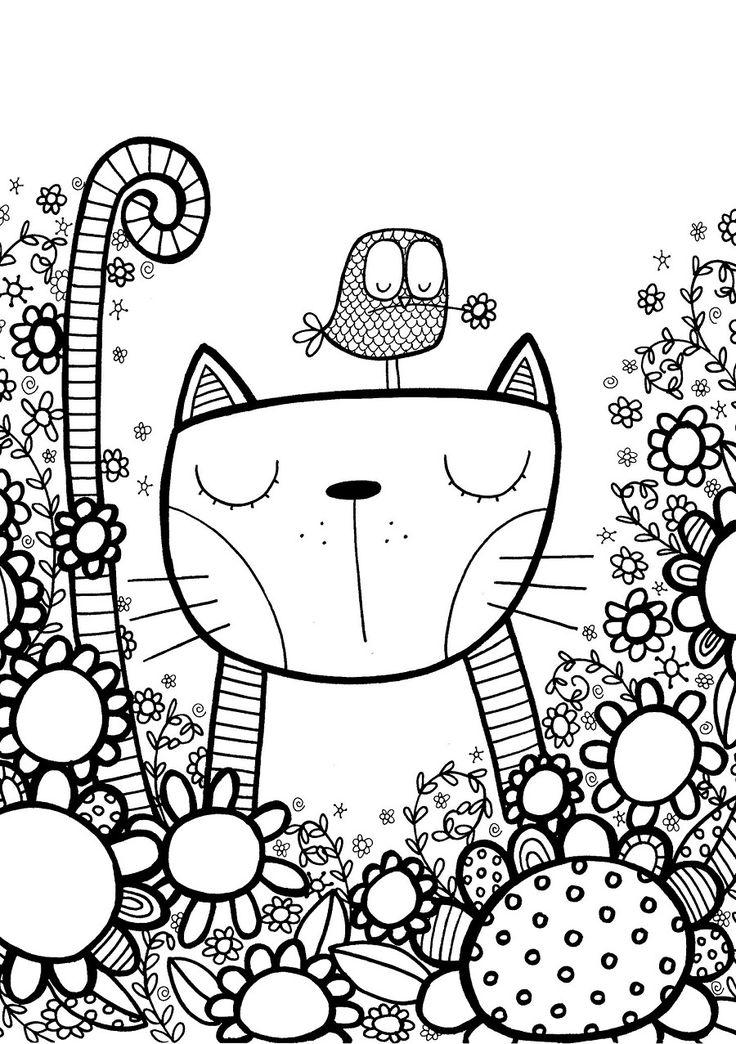 Doodle Cat Drawing Page to Color