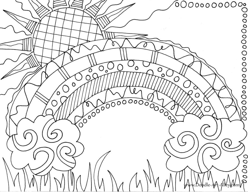 Doodle Rainbow Coloring Page