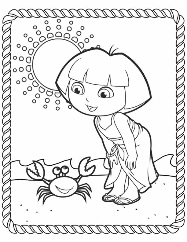 Dora Beach Coloring Page for Preschoolers