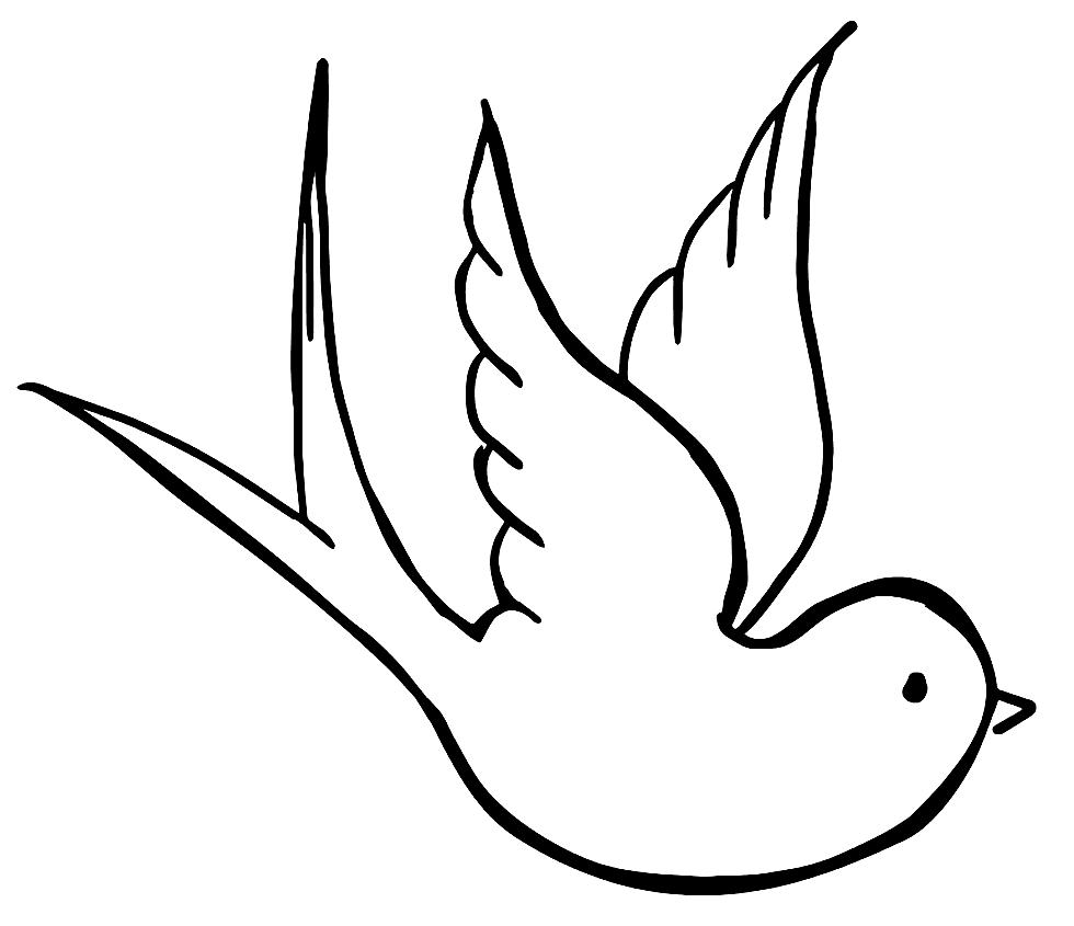 Dove Line Art Drawing
