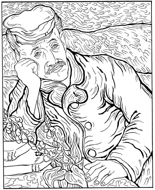 Dr Gachet Portrait Van Gogh Coloring Pages