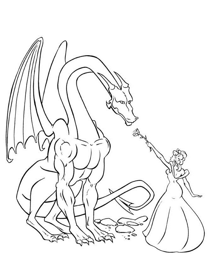 Dragon and Princess Coloring Page
