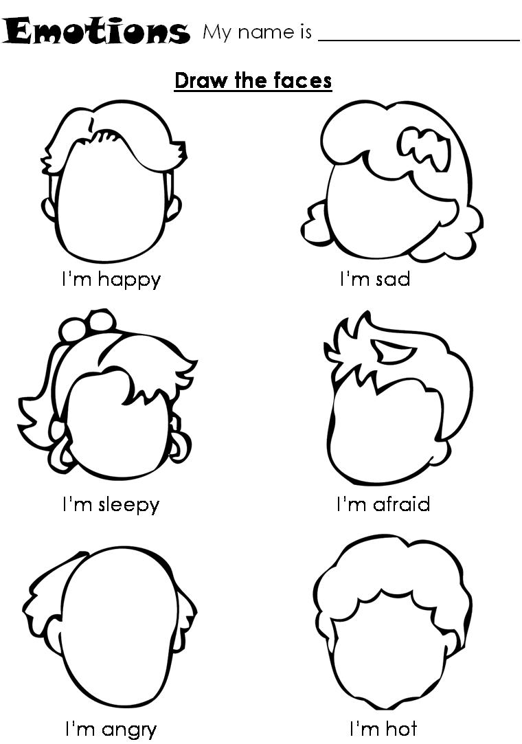 Draw Emotions Kindergarten Coloring Pages