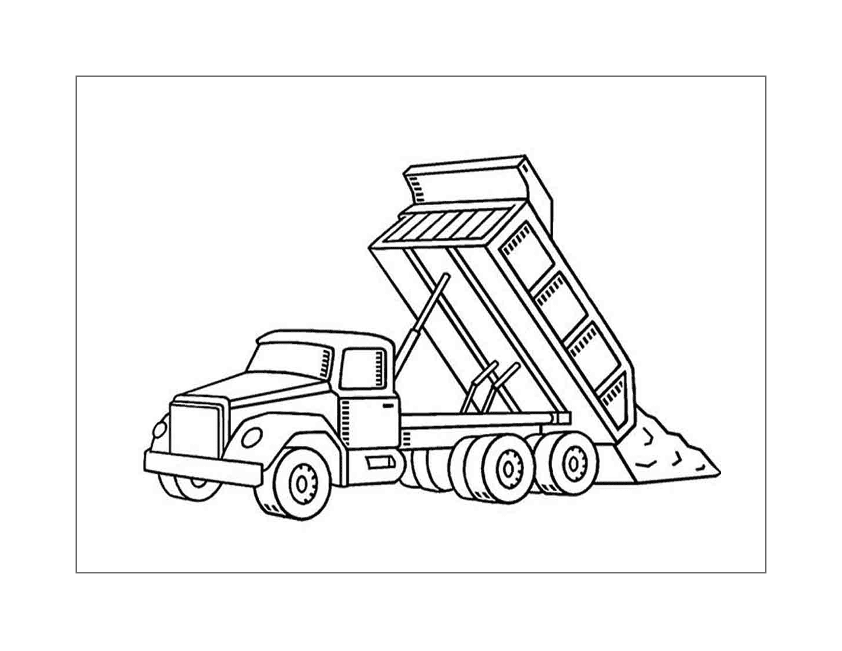 Dump Truck Dumping Coloring Page