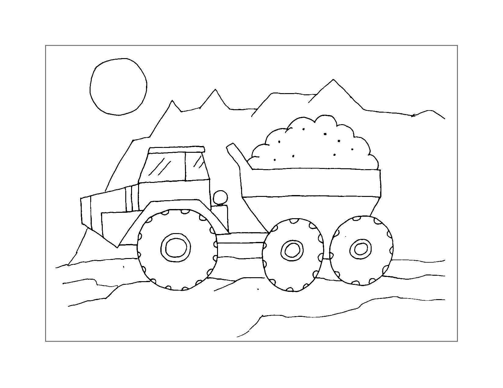 Dump Truck Haul Coloring Page
