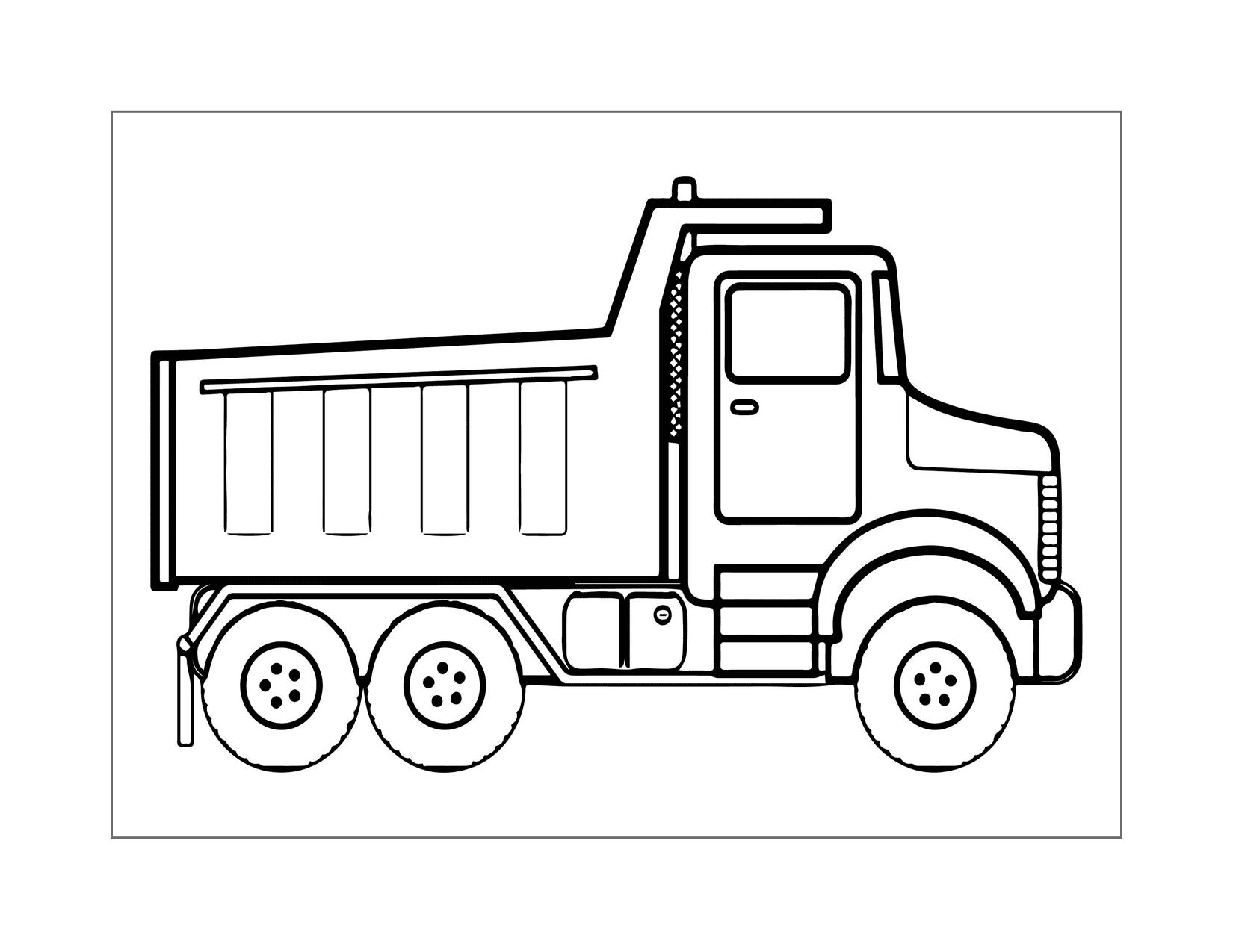 Dump Truck Line Art Coloring Page