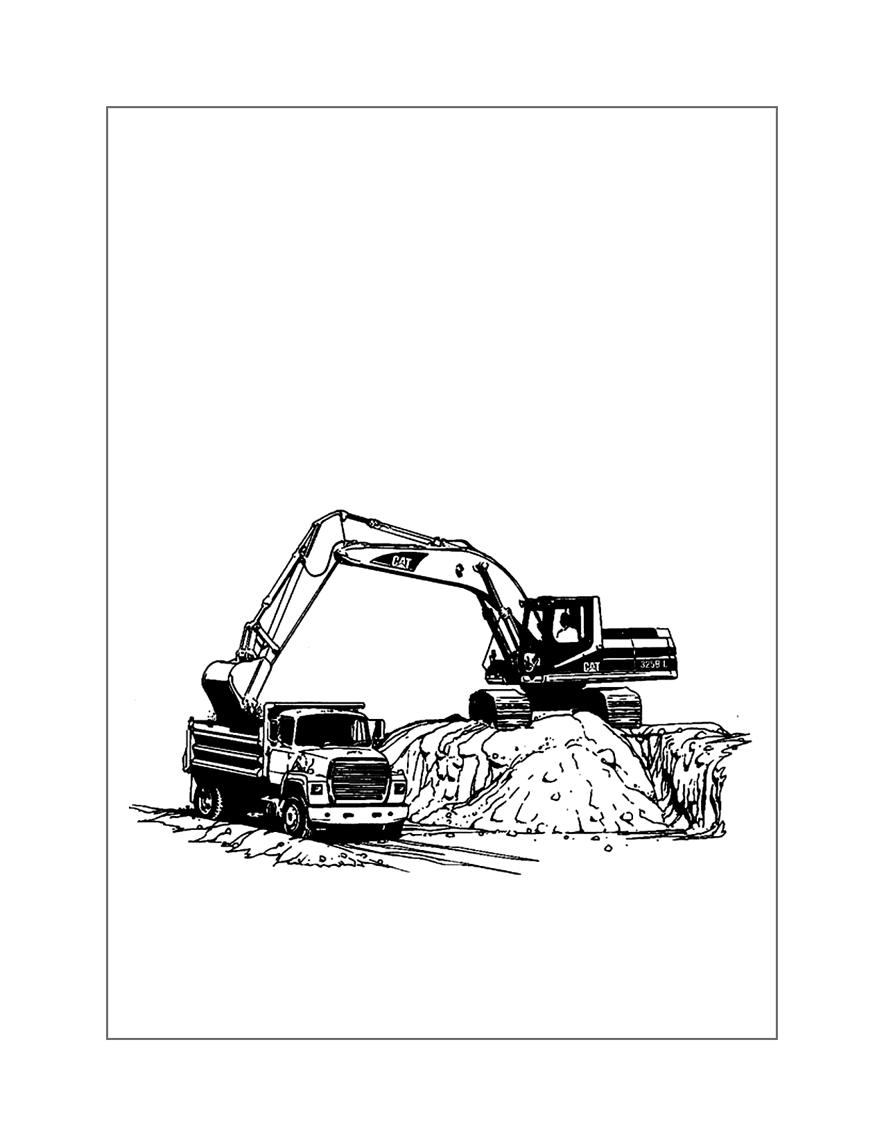 Dump Truck On Work Site Coloring Page