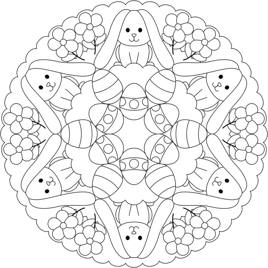 Easter Bunny Mandala Printable Coloring Page