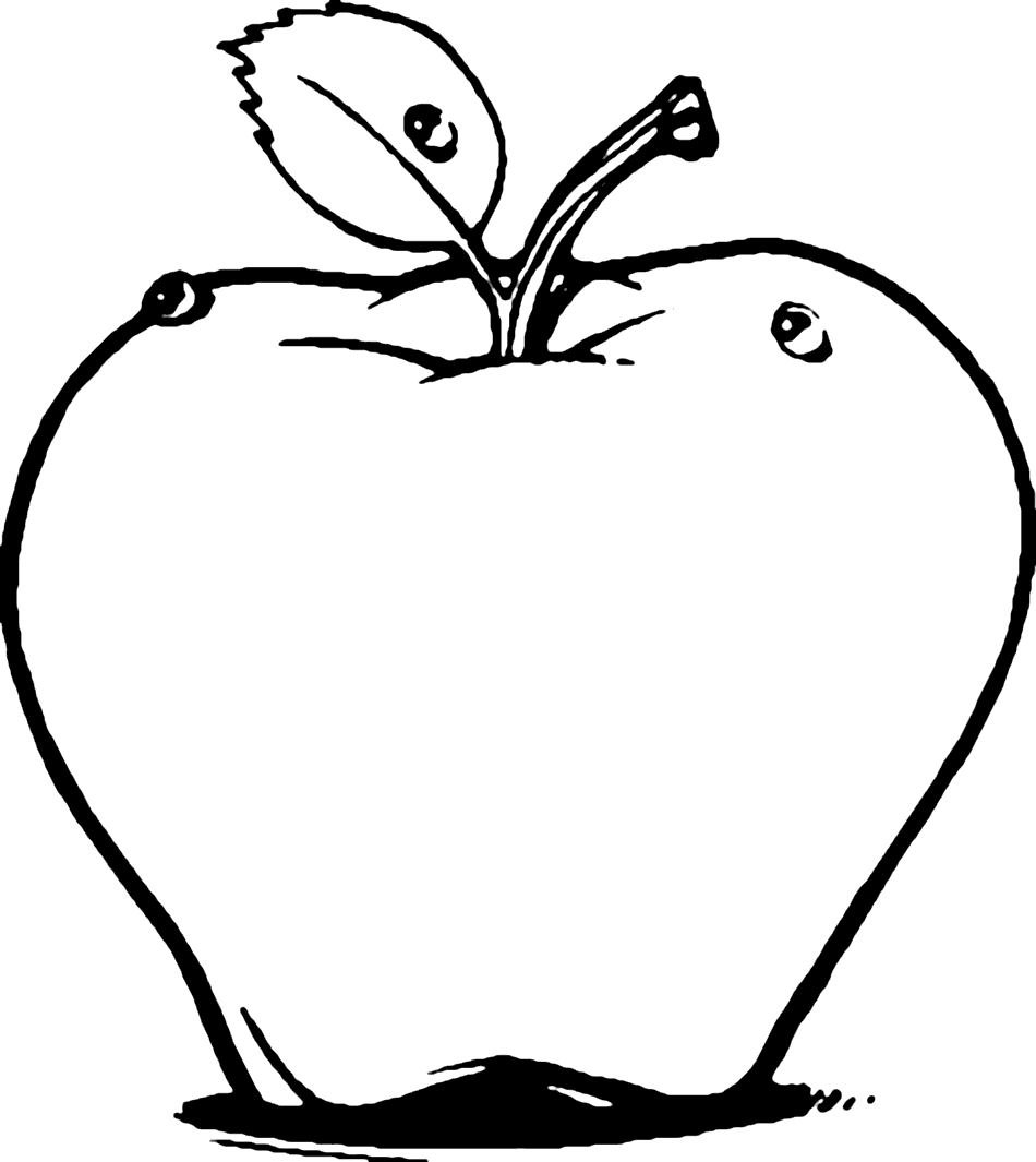 Easy Apple Line Art Coloring Page