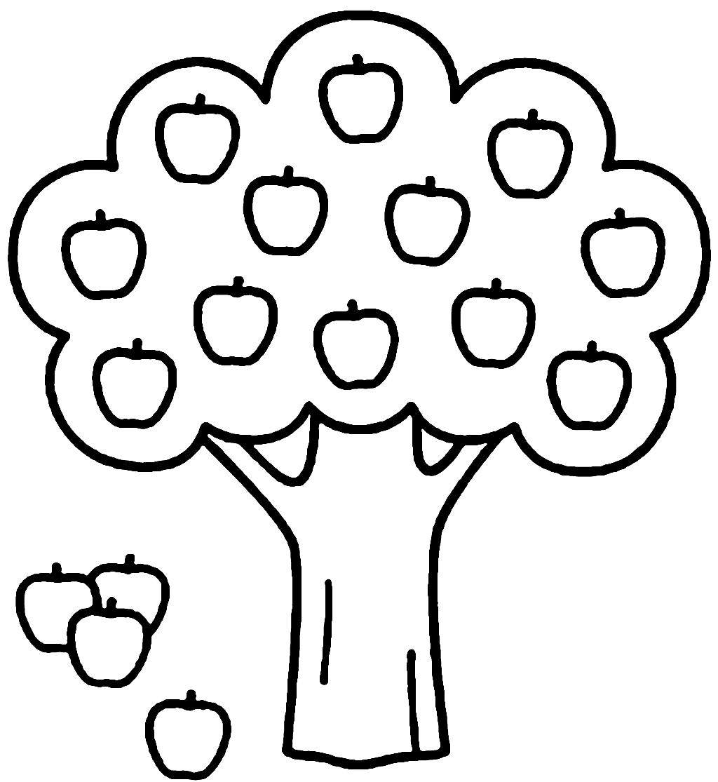 Easy Apple Tree Coloring Page for Preschool