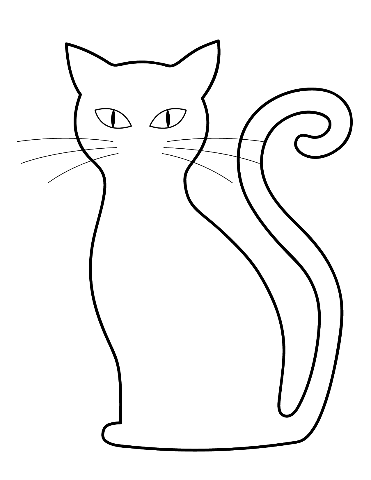 Easy Black Cat Halloween Coloring Page