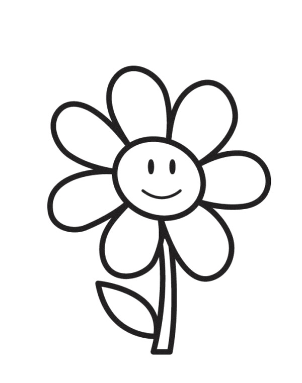 Easy Coloring Page - Flower