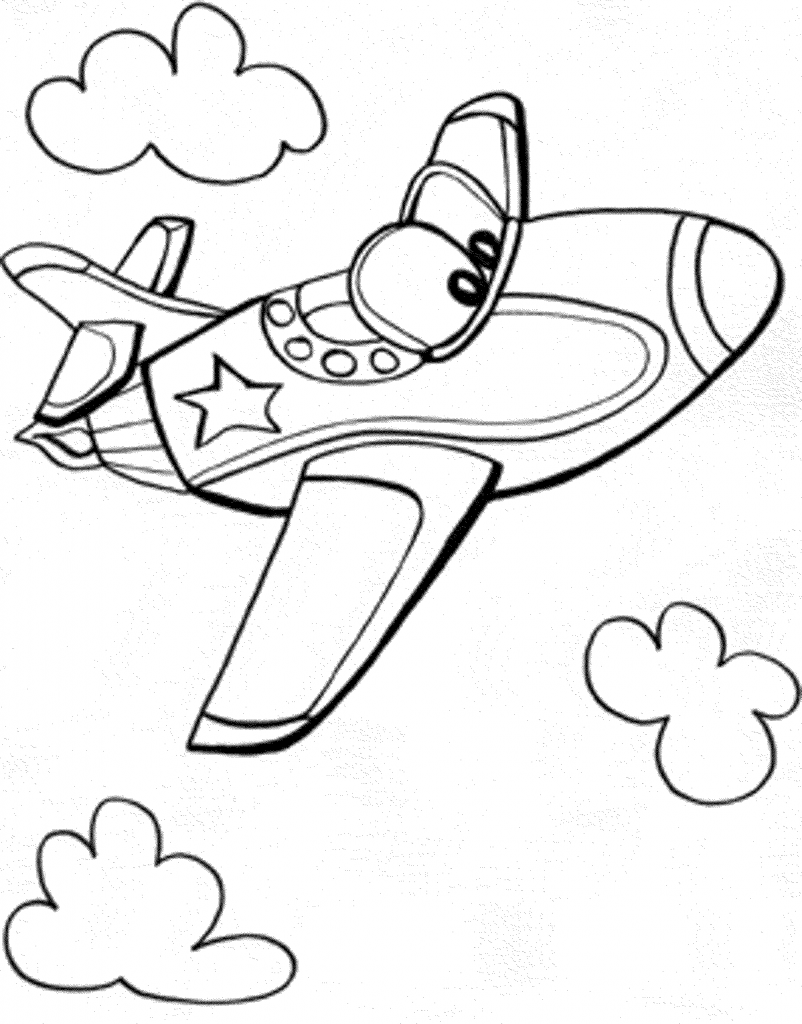 Easy Coloring Pages - Airplane