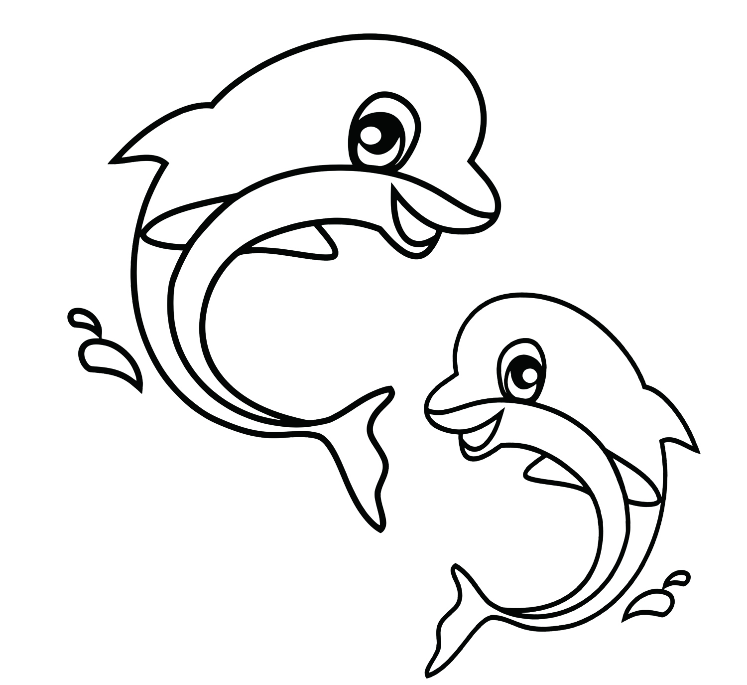 Easy Coloring Pages - Dolphin