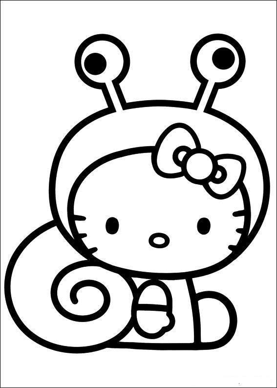 Easy Coloring Pages Hello Kitty Snail Costume