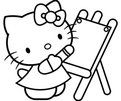Easy Coloring Pages Hello Kitty