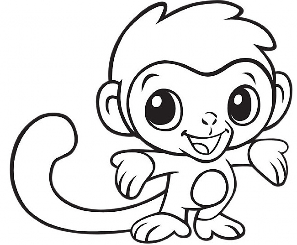 Easy Coloring Pages Monkey