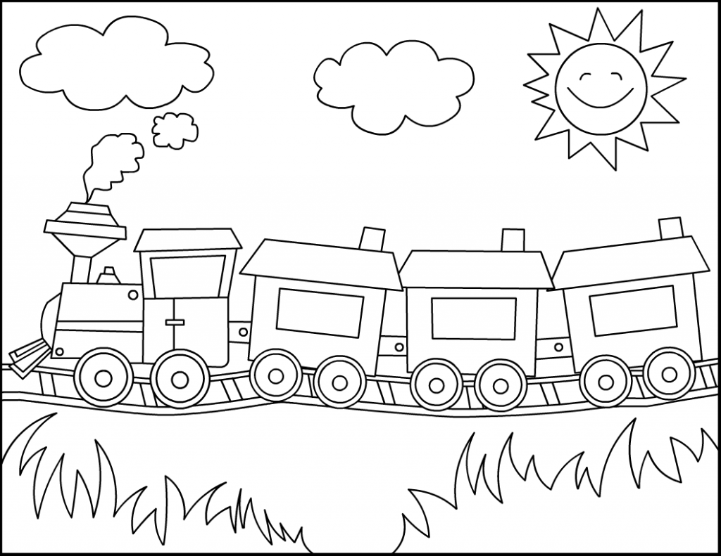 Easy Coloring Pages Train