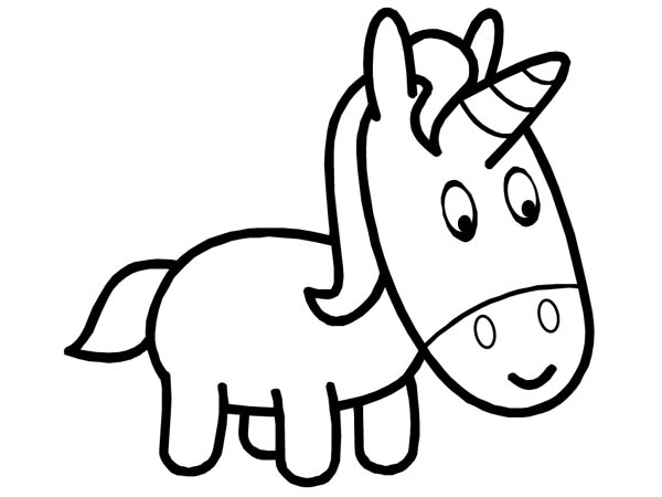 Easy Coloring Pages - Unicorn