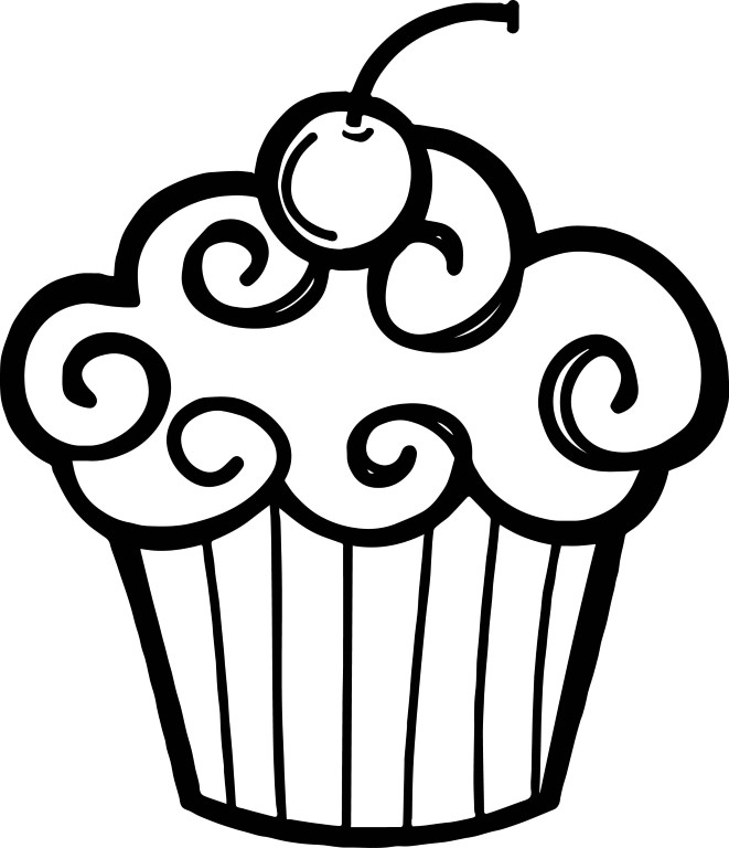 Easy Cupcake Coloring Page