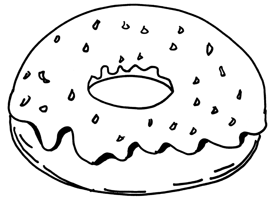 Easy Donut Coloring Page