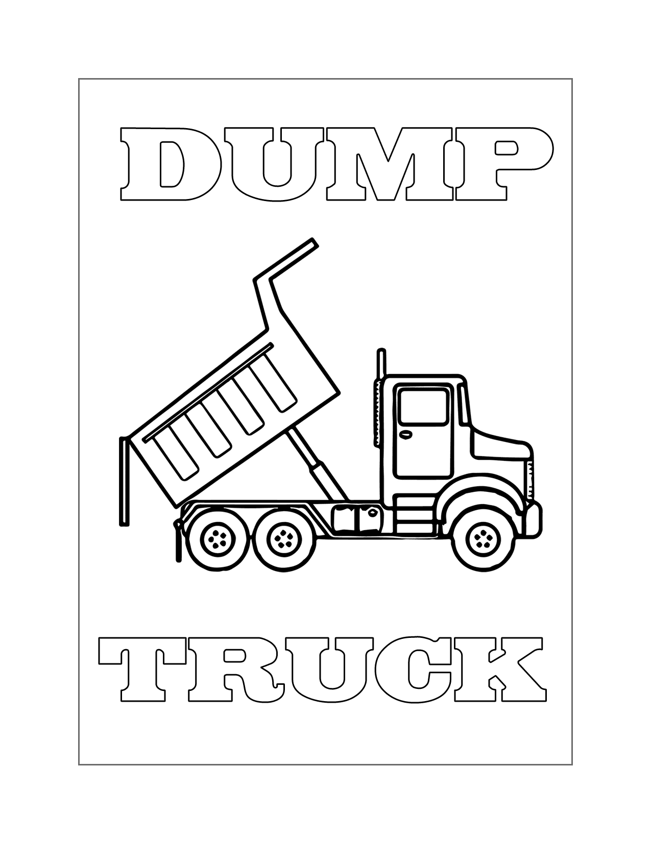 Easy Dump Truck Coloring Page
