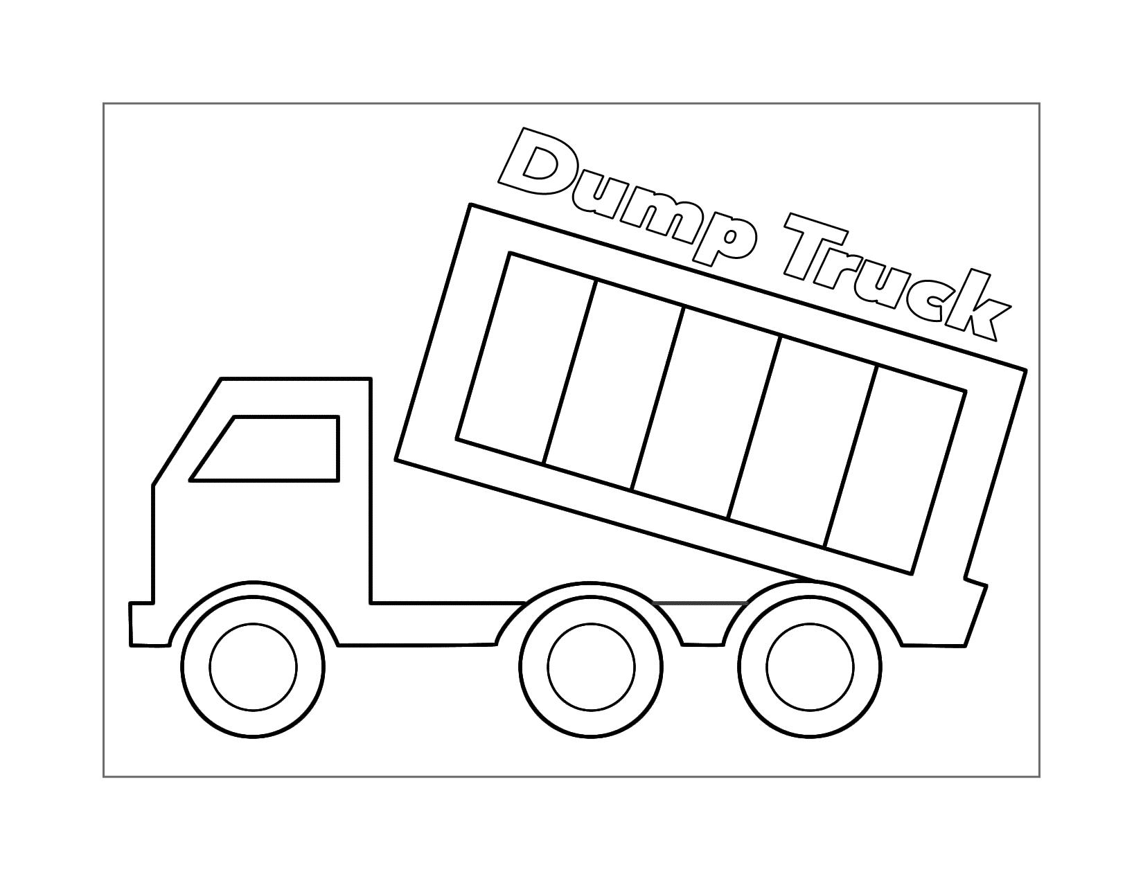 Easy Dump Truck Coloring Worksheet