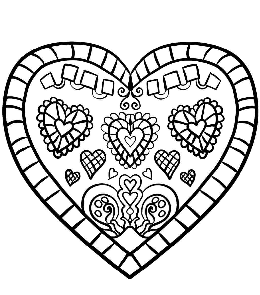 Easy Heart Design Coloring Pages
