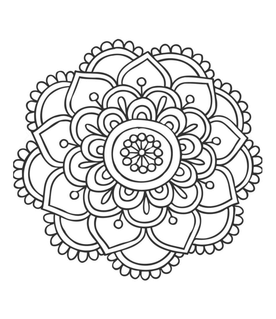 Easy Lotus Mandala Coloring Page