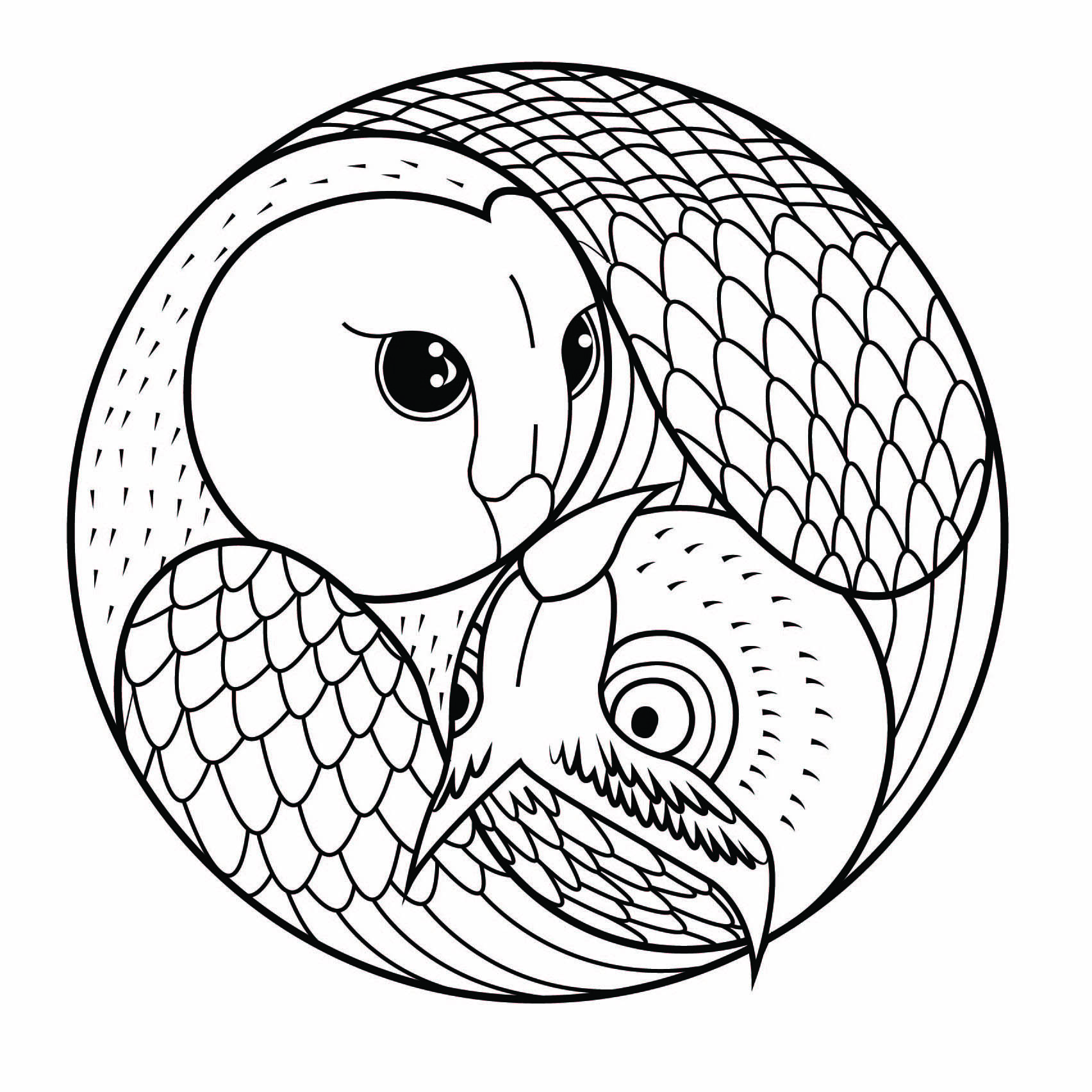 Easy Owl Mandala Coloring Page
