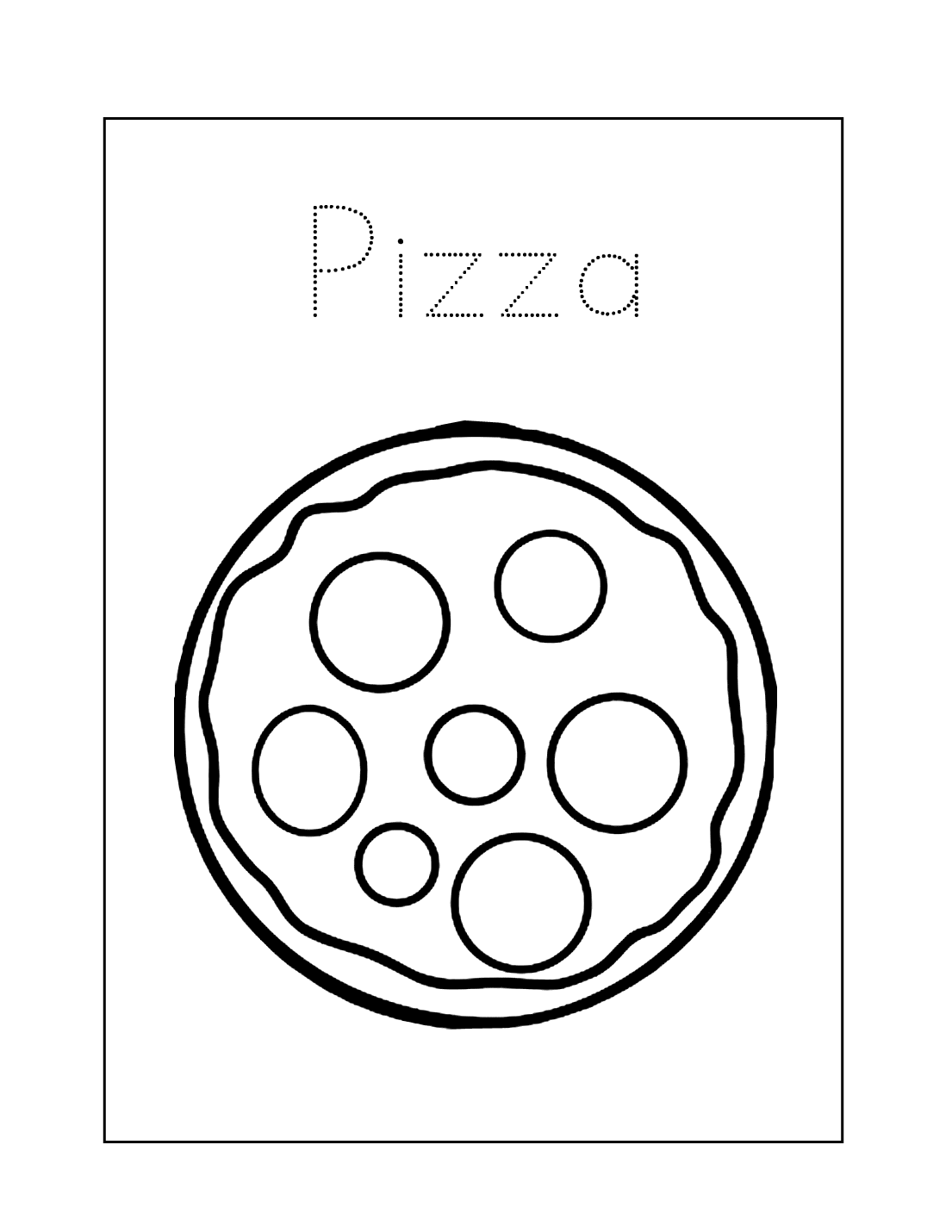Easy Pizza Coloring Page