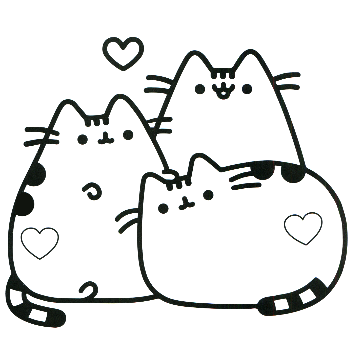 Easy Pusheen Cat Coloring Page