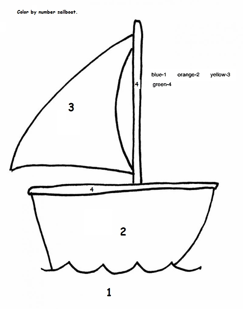 Easy Sailboat Color by Number for Preschool