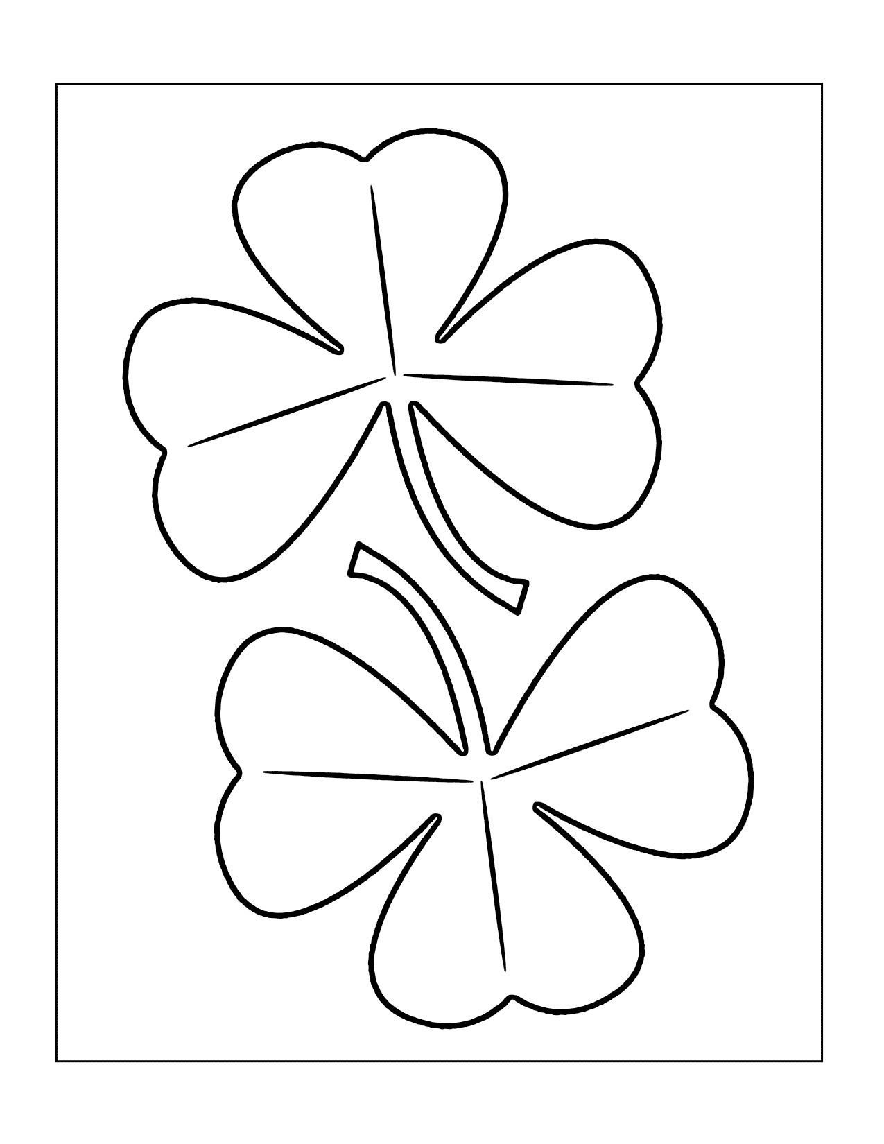 Easy Shamrocks Coloring Page