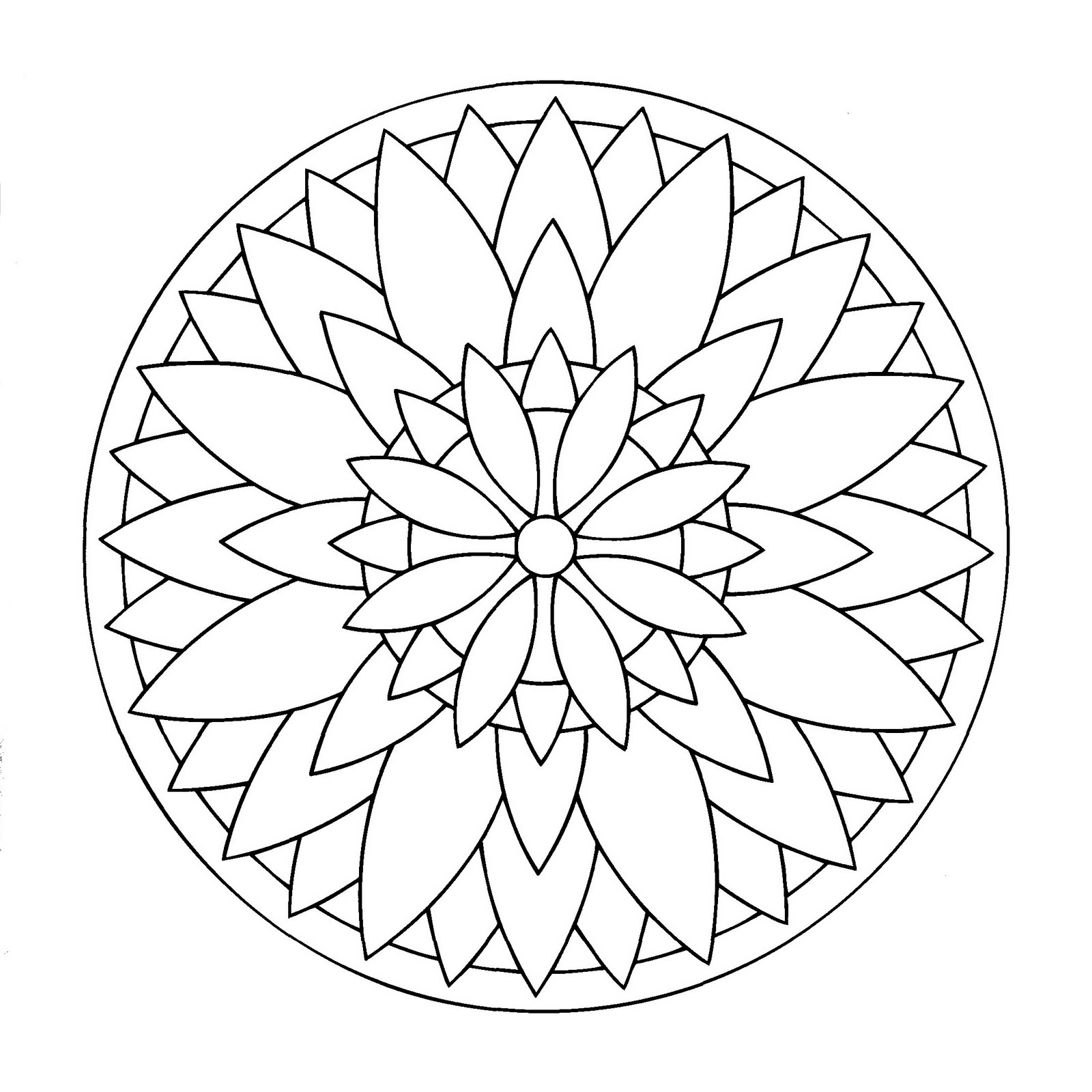 Easy Spiroflower Mandala Coloring Page