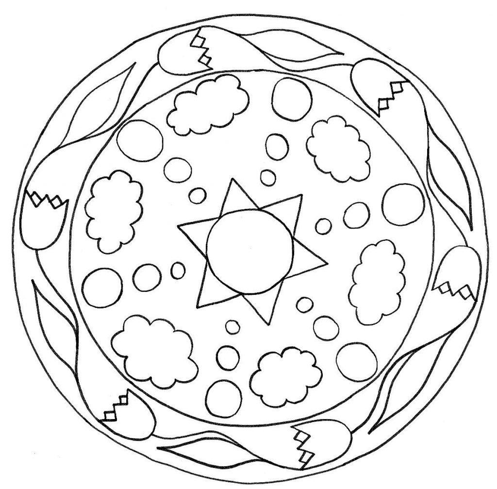 Easy Spring Mandala Coloring Page